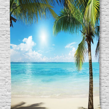MyNelo Ambesonne Tropical Beach Decor Collection, Coconut Palms and Shadows on Beach Sea Plants Picture Pattern, Bedroom Living Kids Girls Boys Room Dorm Accessories Wall Hanging Tapestry, Green Blue Ecru