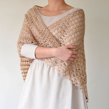 Handmade Beige, Broomstick Lace Crochet, Triangle Shawl, Mother's Day Gift