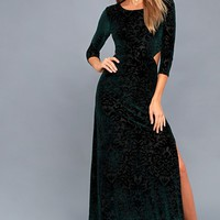 Perfect Night Forest Green Velvet Print Maxi Dress