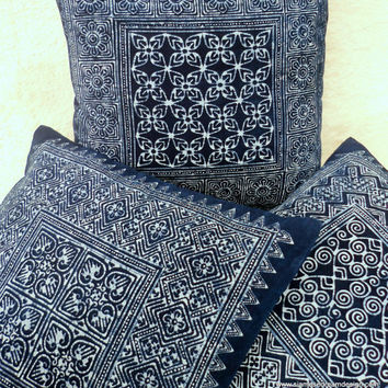 Natural Indigo Batik Hmong Cotton Throw Pillow Cushion Cover 3 Patterns