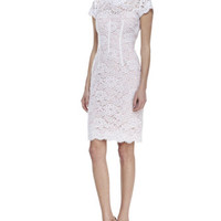 Women's Cap-Sleeve Lace Sheath Cocktail Dress, White/Petal - ML Monique Lhuillier - White/Petal (14)