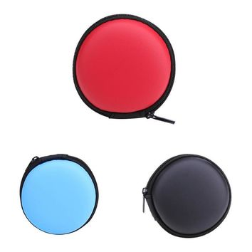 Mini Round EVA Case Headset Bluetooth Earphone Cable Storage Box Container Cable Earbuds Pouch Bag Holder 80 X 80 X 30 mm New