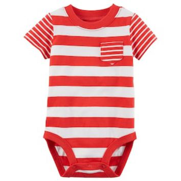 Baby Boy Carter's Striped Pocket Bodysuit | null