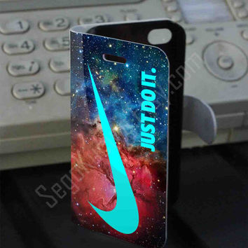just do it nebula galaxy mint Leather Folio Case for iPhone and Samsung Galaxy