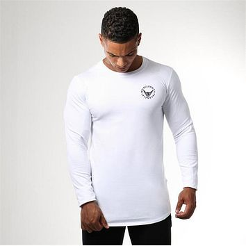 Quick Dry Compression Shirt Slim Fit Tees Men Gyms T-Shirts Bodybuilding Tops Fitness O-Neck Long Sleeve T Shirt