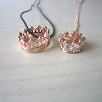 crown necklace,couple necklace,lover necklace,rose gold/gold/silver necklace,best gift for couple