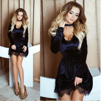 Hot style v-neck collar dress Velvet sexy lace Black