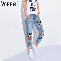 YOFEAI 2017 Jeans Women Casual Denim Ankle-Length Boyfriend Pants Women Print Pants Casual Harem Pants Female Plus Size 4XL 5XL