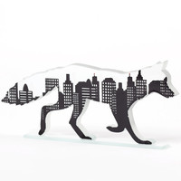 Urban Fox Glass Sculpture Screen Printed Enamel