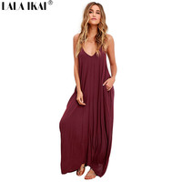 2017 Summre Elegant Beach Dresses Women Spaghetti Strap Sun Long Dresses Sexy V-Neck Beach Dress Lady QWA1309-4