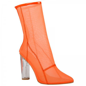 High Society Orange Mesh Ankle Boot