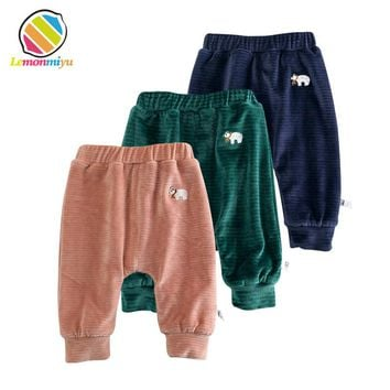 Baby Boys Winter Thicken Cashmere Warm Diaper Trousers Girls Long Pants Infants 1st Velveted Warm Legging Fills Pencil Pants