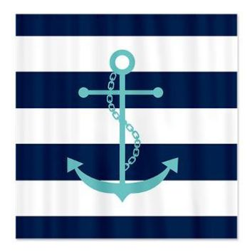Teal Anchor on Blue Stripes Shower Curtain> Shower Curtains> Heartlocked