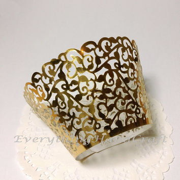Cupcake Wrappers | Metallic Gold Lace Cupcake Liner | Wedding Cake Wraps Filigree Decorations Christmas Baby Shower Birthday | 12pcs (CP01G)