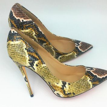 Snake Printed Sexy High Heels Pumps