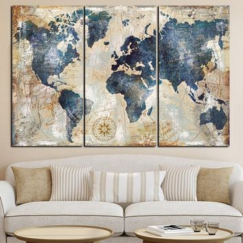 3 Panels Watercolor World Map Painting HD Print on Canvas Sofa Cuadros Art Picture For Living Room (No Frame)