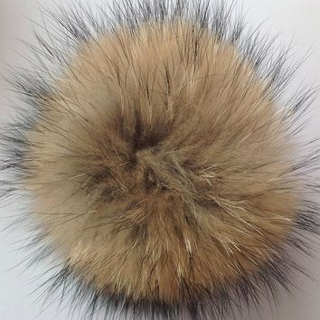14-16cm 100% Natural Raccoon Fluffy Fur Pompons Hats DIY Real Fur Big Ball Pom Pom Ponpon for Cap Hat Skullies Knitted Beanies