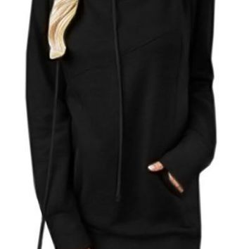 Chic Black Funnel Neck Long Sleeve Pocket Hoodie