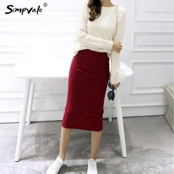 DCCKDZ2 Pencil Skirts Women Stretched Knitted Skirt Women 2017 Fashion Mid Waist Slim Sexy Elastic Open Slit Office Skirts SIMPVALE