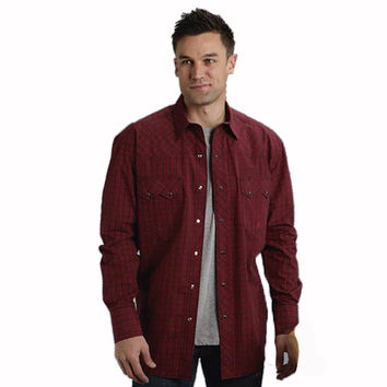 Roper Mens Tall Red Amarillo Plaid Long Sleeve Snap Western Shirt