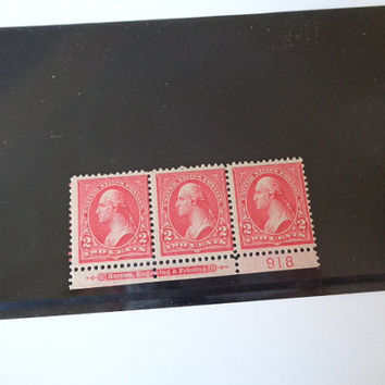 Scott 279B Year 1898 US 3 Stamp Strip 2 Cent Stamps Unused Mint Not Hinged 1st President and General George Washington Add to Collection