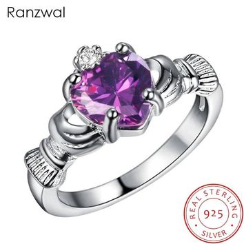 Ranzwal 925 Sterling Silver Women Irish Claddagh Friendship & Love Ring with Heart Cubic Zirconia US Size 6~9 ARI213
