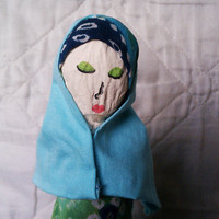 Zaida - OOAK Mixed Media Muslimah Art Doll Made from Recycled Material