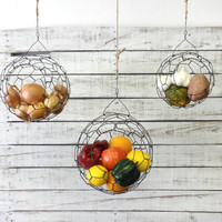 Hanging Wire Sphere Basket Set