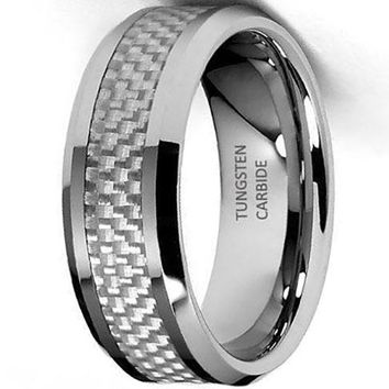 CERTIFIED 8mm White Carbon Fiber Inlay Tungsten Wedding Band