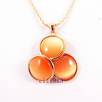 Orange long chain necklaces,  Three round Artificial opal pendants sweater necklace. Birthday  friends gifts. Autumn Edition fashion trends