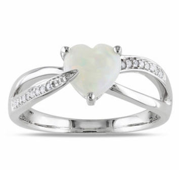 Miadora Sterling Silver Opal and Diamond Heart Ring (H-I, I2-I3) | Overstock.com