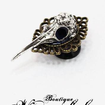Bird skull silver threaded plugs