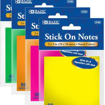 """Bulk Discounted BAZIC 80 Ct. 3"""" X 3"""" Neon Stick On Notes 72 packs"""