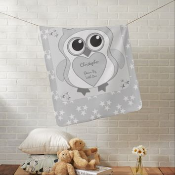 Owl Baby Blanket silver grey and stars Dream Big