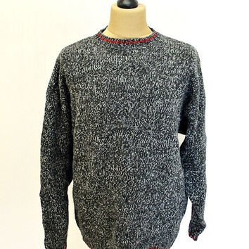 Vintage 90s Eddie Bauer Grey Shaker Knit Jumper Sweater Large