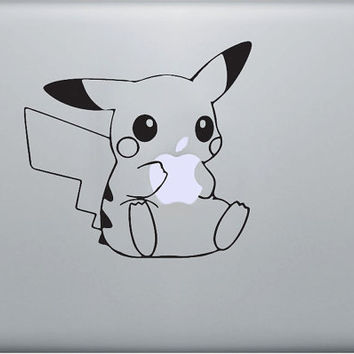 Pikachu pokemon vinyl decal sticker, Apple Macbook Pro Mac air laptop, iPad 1, 2, 3