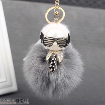 Fuffly Fashion Real Genuine Fox Fur Pompom Ball Monster Bag Bugs Charm Women Keychain Plush Key Ring Pom Pom Key chain F372