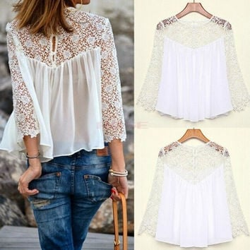 New 2014 Spring Summer Women Blouses Fashion Casual Shirts Chiffon Blouses White Lace shirt women SV003845 Tops = 1745480388