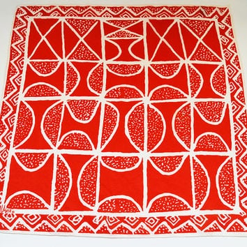 Vera Neumann scarf - vintage, modern mid-century design, 1960s, bold, abstract, graphic, accessory  {red, white} 21x21