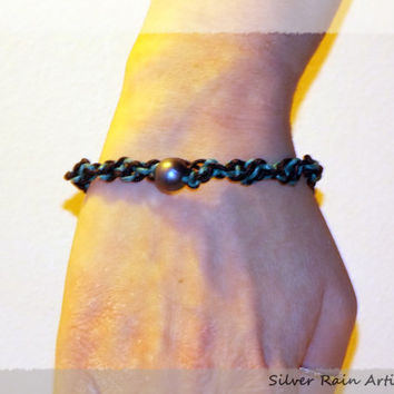 Friendship bracelet - Blue and Black bracelet - macrame bracelet - beaded bracelet - lobster clasp