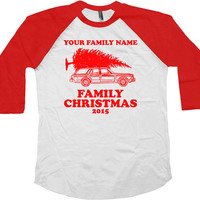 Funny Christmas Raglan Matching Family Christmas Shirts 3/4 Sleeve Shirt American Apparel Raglan Sleeves Christmas Vacation Xmas- SA519