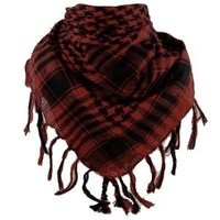 Houndstooth Plaid Scarf Wrap Neck Scarve Fashion Hot Trend Check (Black & Red)