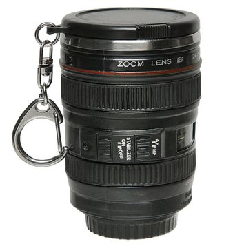 Behokic Mini Camera Lens Mug Cup 24-105mm 1:1 Coffee Coffe Tea Cup Travel Mug Stainless Steel with Key Chain Keyring Lid Copos