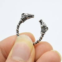 Men's  Antique Silver Viking Ring For Men Adjustable Dragon Ring