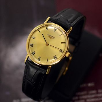 VINTAGE LONGINES MANUAL WINDING 17 JEWELS GOLD PLATED ANALOG DRESS MEN'S WATCH
