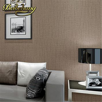 beibehang papel de parede. Faux Grasscloth Modern Simple texture Wall Paper Bedroom and Office Wallpaper Roll Solid Color Beige,