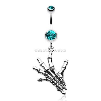 Hand of Death Skeleton Belly Button Ring (Teal)