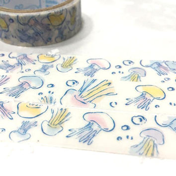 jellyfish washi tape 3M beautiful jellyfish Watercolor jelly fish Masking tape fancy underwater world planner gift diary sticker scrapbook