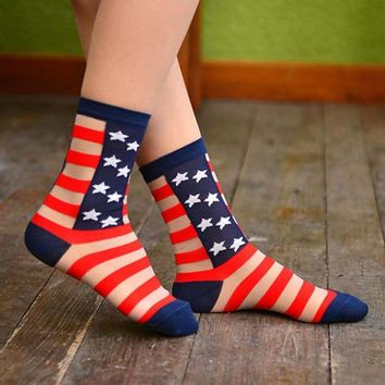 Sheer Patriotism American Flag Star and Stripes Print Socks for Women | DOTOLY