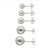 Jinique Sterling Silver Ball Stud Earring Set (5 Pairs)